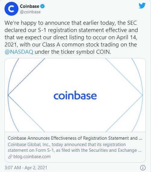 Thông cáo Coinbase