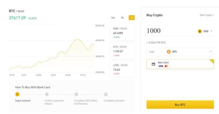 binance mua bitcoin bằng thẻ tín dụng
