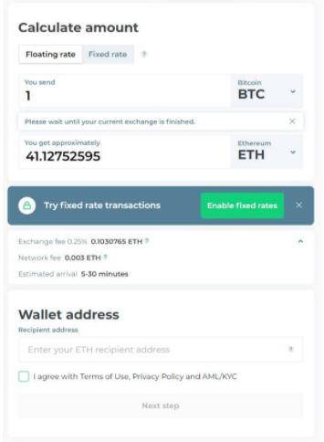 Cách chuyển đổi tiền điện tử bằng Changelly