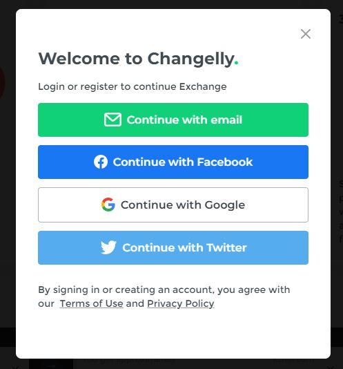 Đăng ký & Đăng nhập Changelly