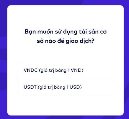 Chọn VNDC hoặc USDT