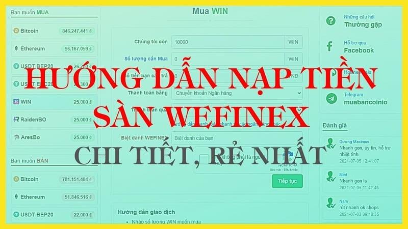 Nạp tiền vào Wefinex