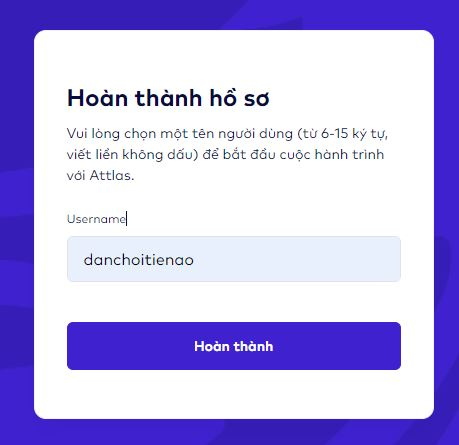 Nhập Username trên Attlas Exchange