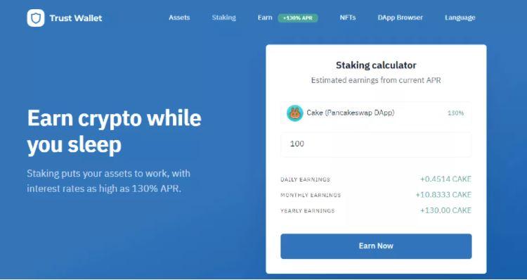 Đặt cọc & kiếm tiền điện tử với Trust Wallet