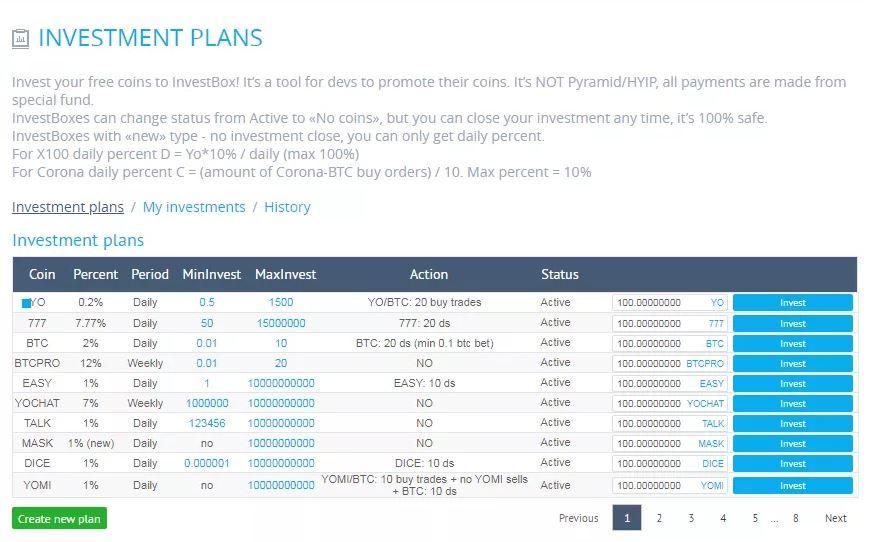 Đầu tư số tiền miễn phí của bạn vào InvestBox tại Nền tảng YoBit