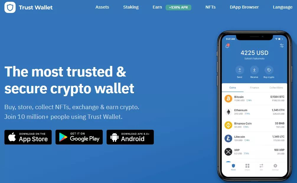 Giao diện nền tảng Trust Wallet