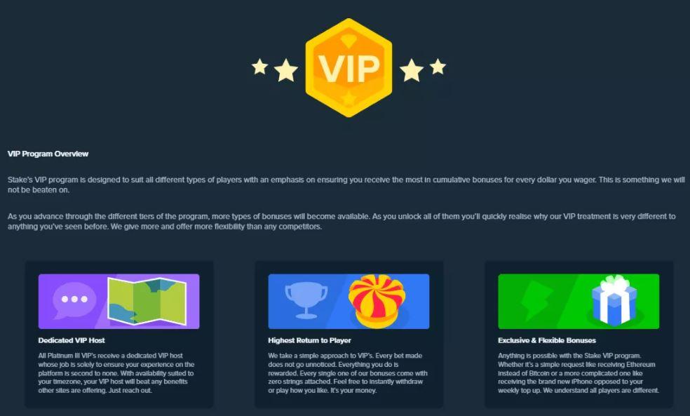 Quyền lợi Chương trình VIP của Stake Casino