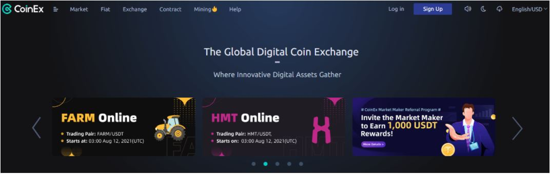 Giao diện nền tảng CoinEx