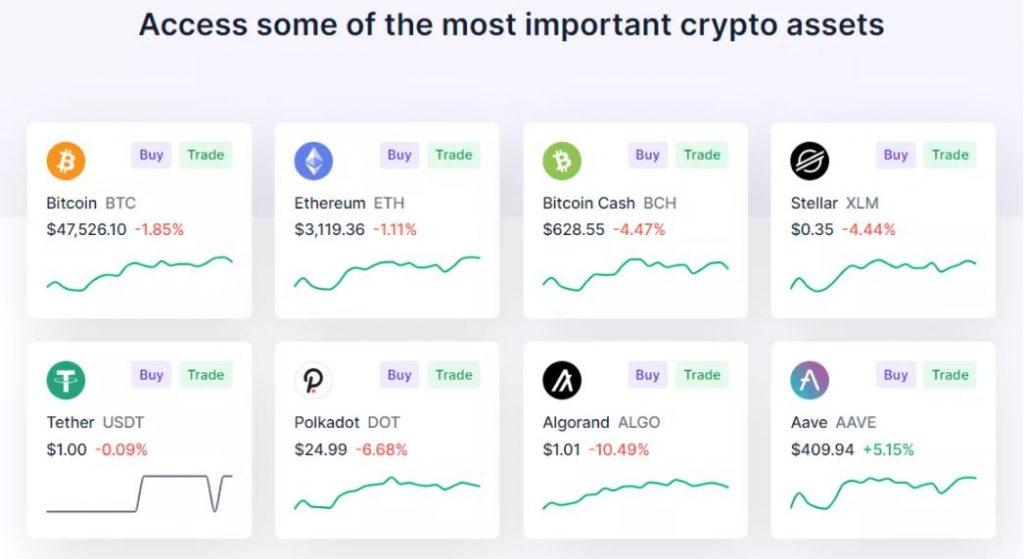 Cryptos được hỗ trợ trên Blockchain.com