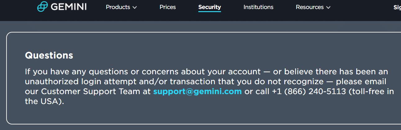 Gemini Exchange - Hỗ trợ khách hàng