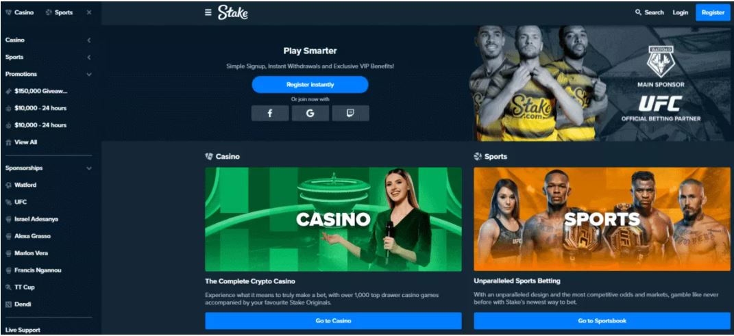 Giao diện người dùng Stake Casino