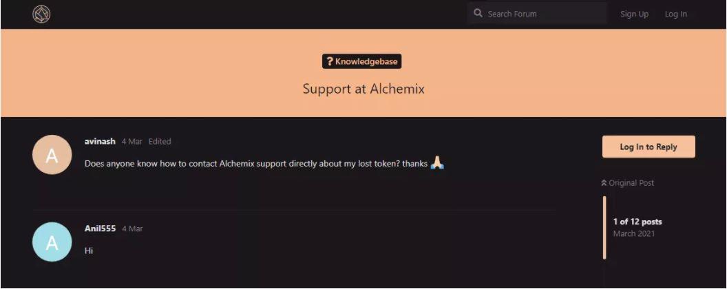 Hỗ trợ khách hàng của Alchemix