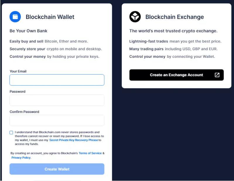Quy trình đăng ký trên Blockchain.com