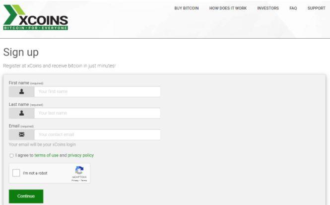 Quy trình đăng ký xCoins