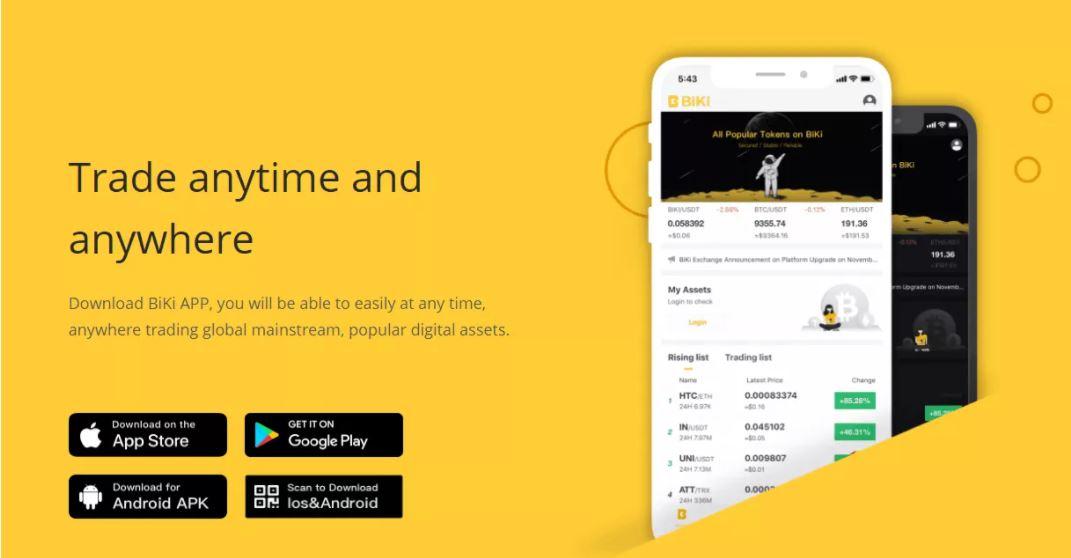 Trải nghiệm ứng dụng di động BiKi Exchange