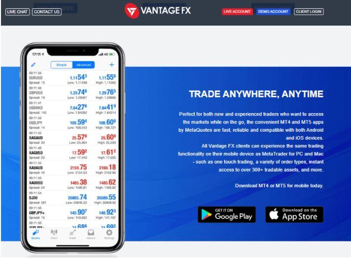 Ứng dụng di động Vantage FX