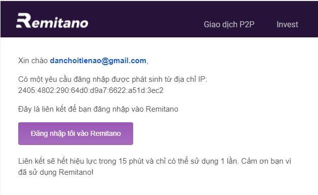 Xác nhận đăng nhập Remitano