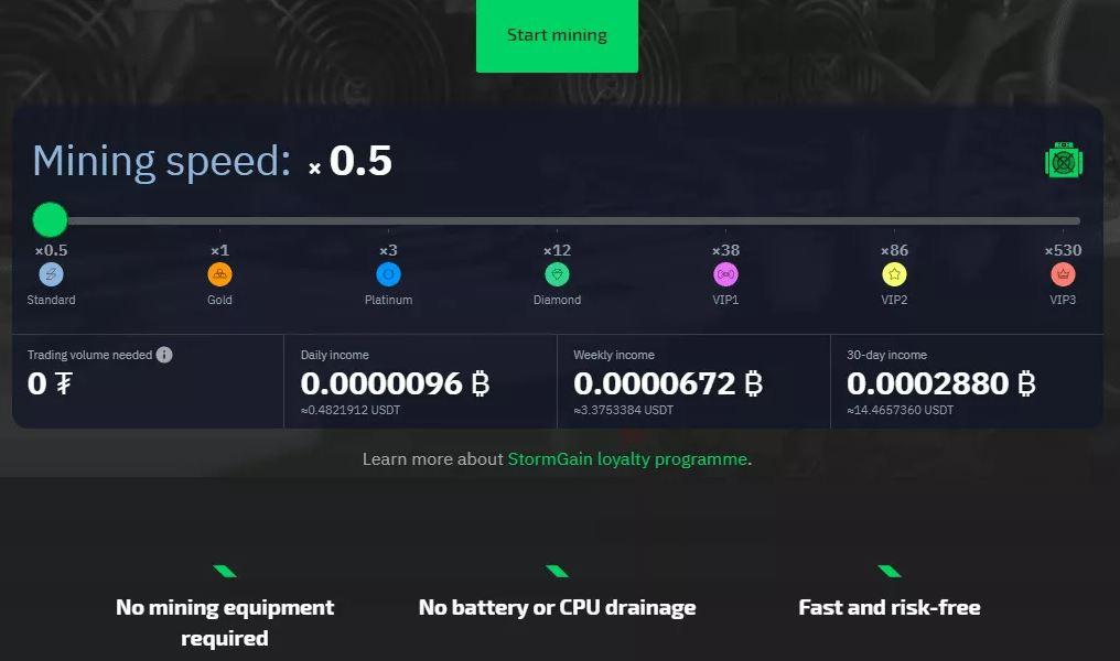 StormGain - Công cụ khai thác Bitcoin