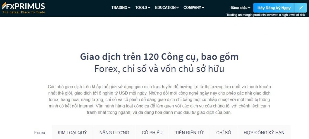 Giao diện nền tảng FXPRIMUS