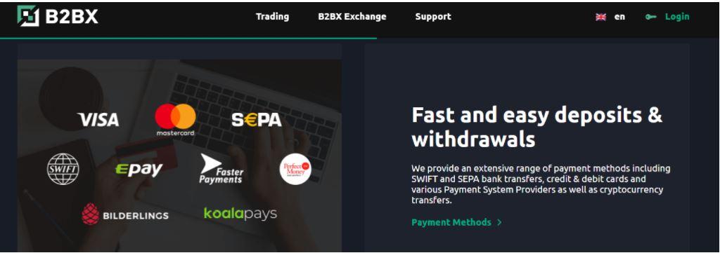 Phương thức gửi tiền và rút tiền trao đổi B2BX