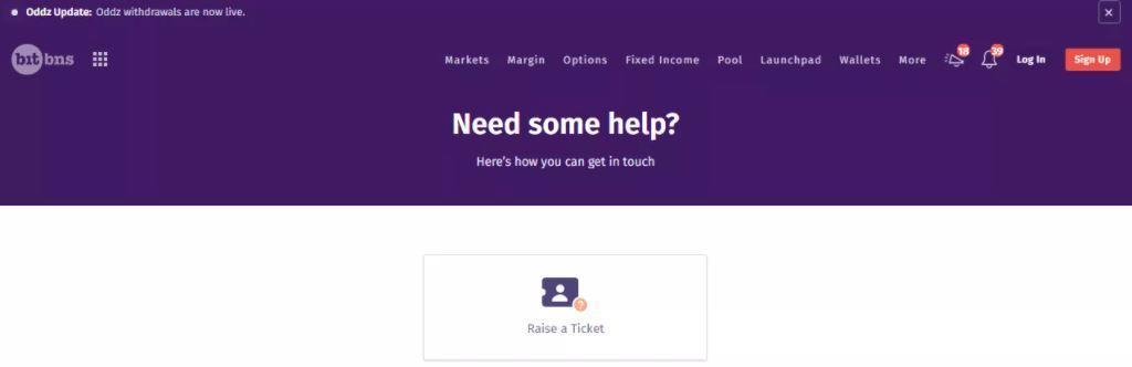 Hỗ trợ khách hàng của Bitbns