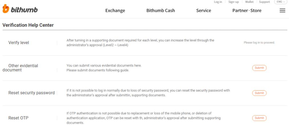 Hỗ trợ khách hàng của Bithumb