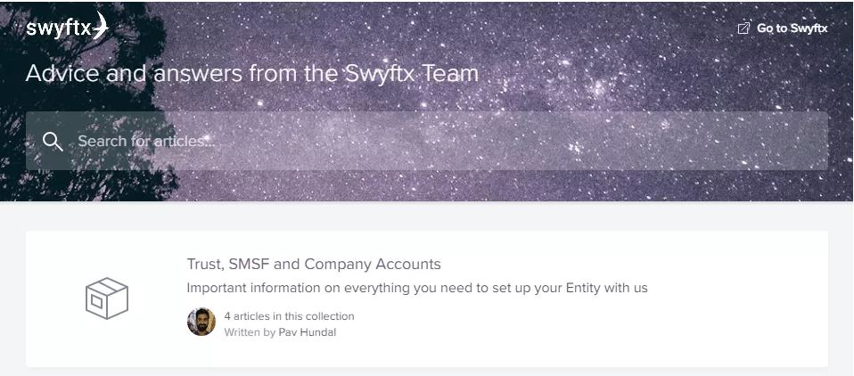 Hỗ trợ khách hàng của Swyftx