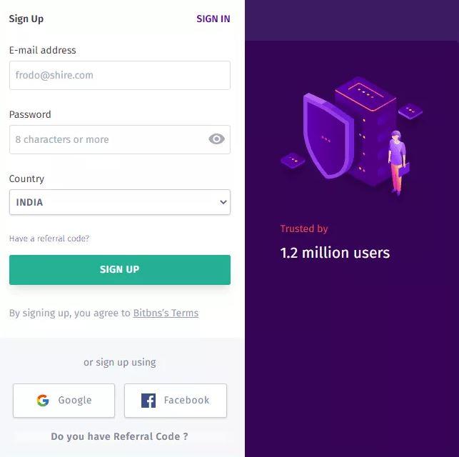Quy trình đăng ký Bitbns