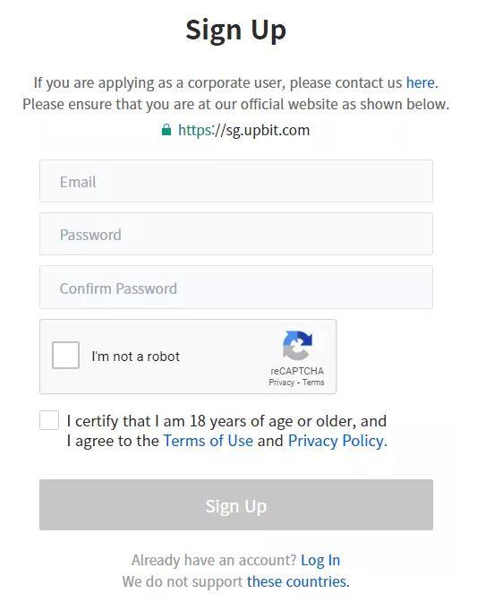 Quy trình đăng ký Upbit