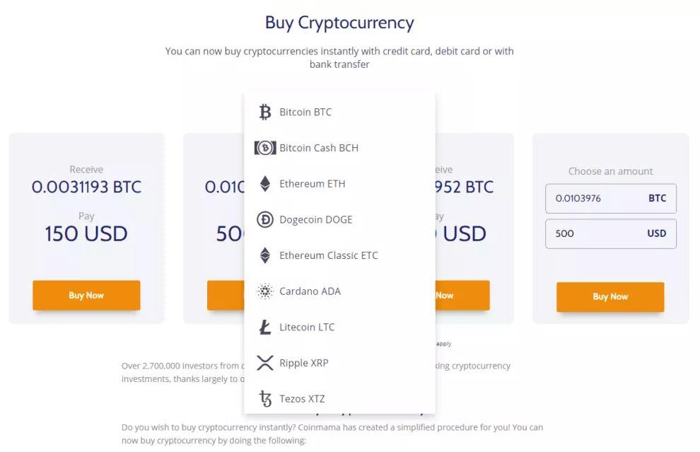 Tiền điện tử có sẵn để mua tại Coinmama