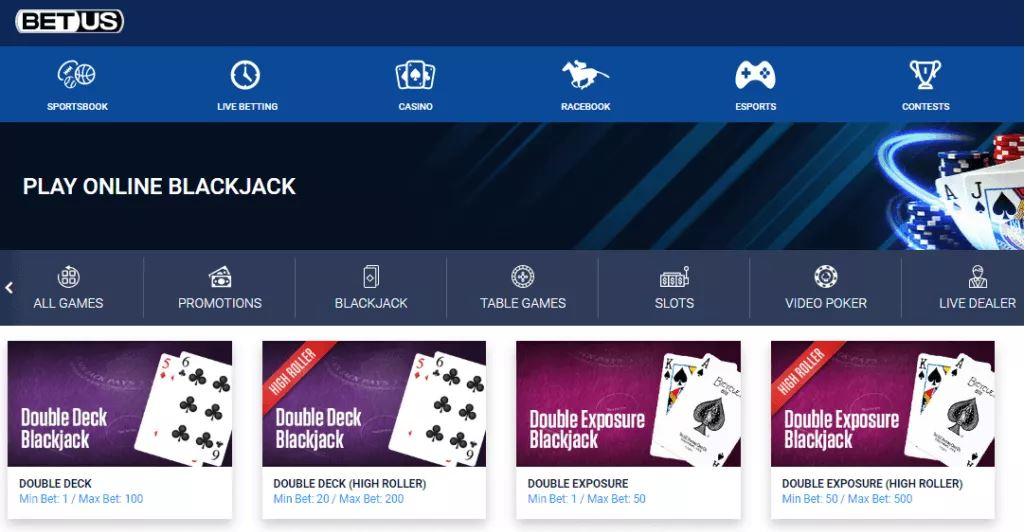 Trò chơi Blackjack của BetUS