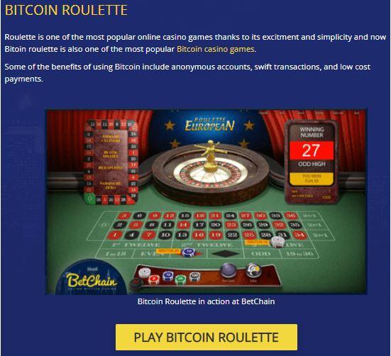 Chơi trò chơi Roulette Bitcoin tại BetChain & Win