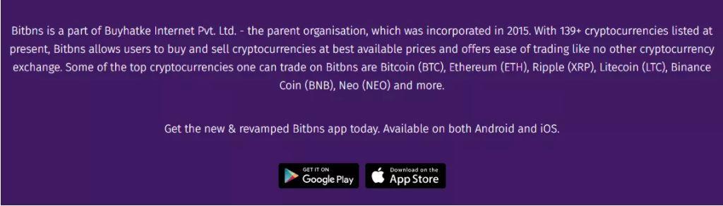 Ứng dụng Bitbns