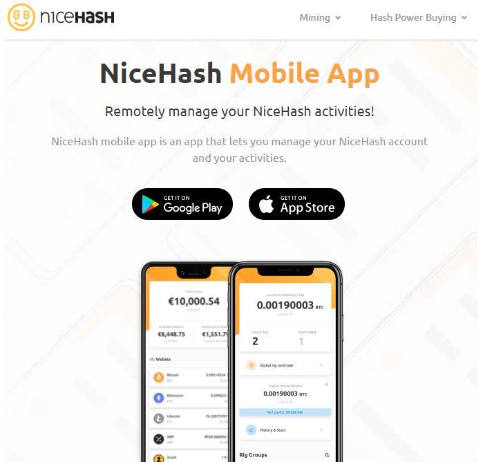 Ứng dụng di động NiceHash